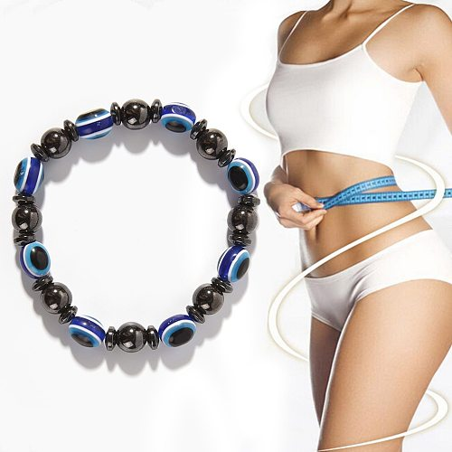 Fashion Weight Loss Magnetic Therapy Bracelet Round Black and Blue Stone Health Care Luxury Slimming Product Face Lift Tools