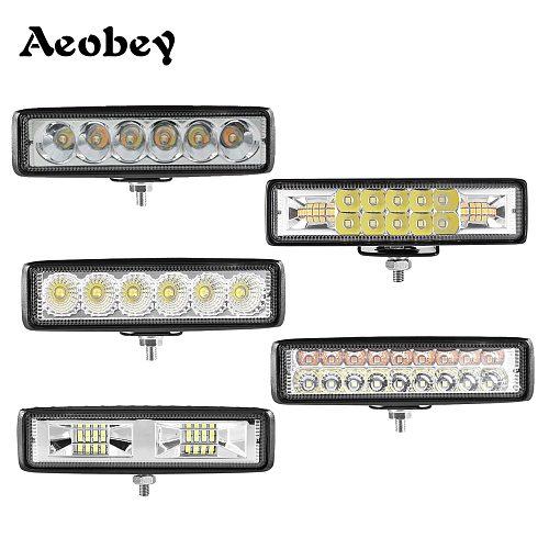 Led bar 18w 30w 48w 54w led light bar for 4x4 off road 12V 24V led work light for car fog light Reversing llight flood spot beam