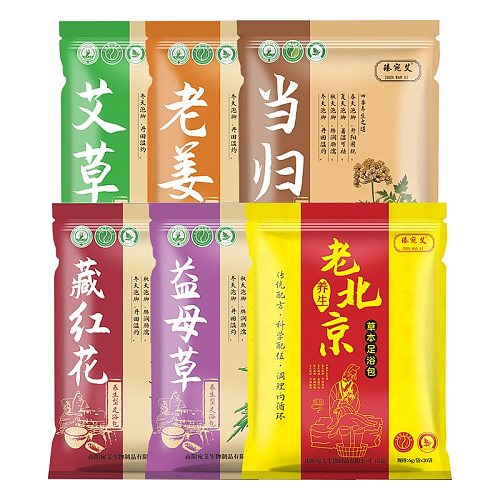 6g*30 Bags Foot Bath Powder Wormwood Ginger Safflower Foot Powder Bag SPA Foot Relaxation Dehumidification Perspiration