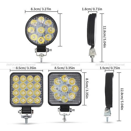 Car LED Work Light COB Chips 27/ 48 watts DC 12/ 24 Volts 6500K White Spot Lighting for FSO Universal Truck Auto Bulbs