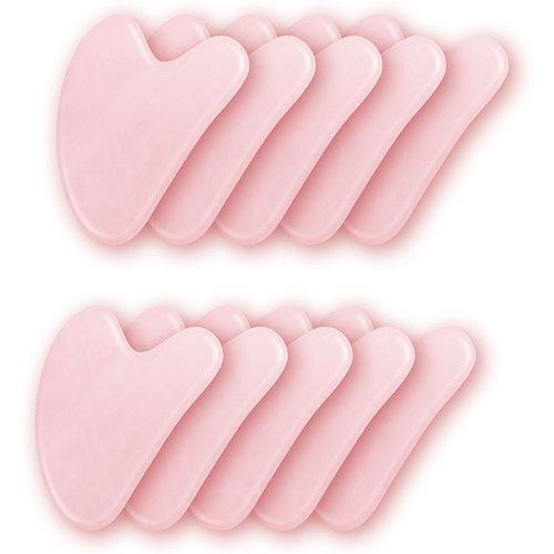 5/10pcs Rose Quartz Jade Stone Heart-shaped Gua Sha Scraper Massage Handmade Guasha Board Anti Wrinkle Skin Care Gouache Scraper