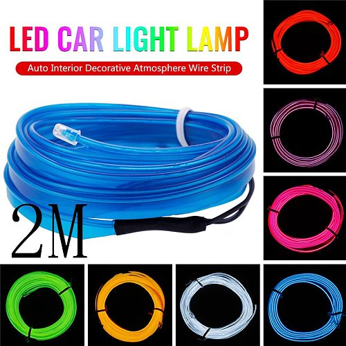 New 2M 12V LED Car Light Lamp Flexible Auto Interior Decorative Atmosphere Wire Strip Cold LED Light Fit all DC 12V Cars