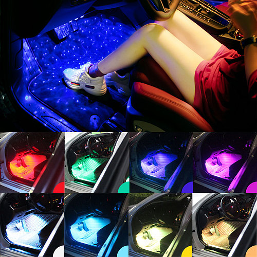 Car styling Foot Light Interior Wireless Remote/Music/Voice Control Decoration Light Cigarette LED Atmosphere RGB LampStrip