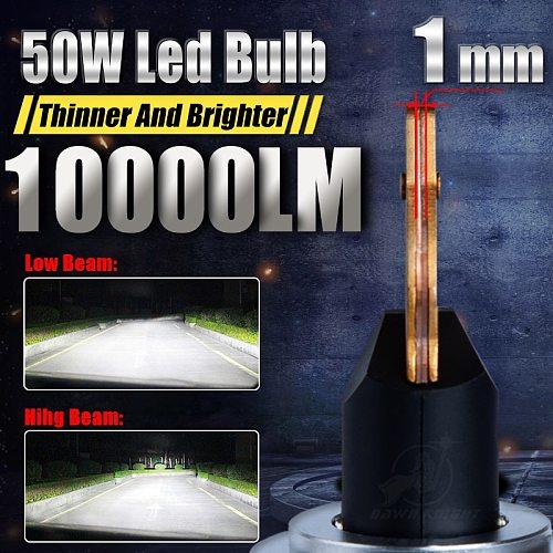DAWNKNIGHT P1 50W 1mm Led Headlight H7 H4 D2S H11 9005 9006 9012 H1 Canbus Led Bulbs 6000K 10000LM Turbo Led Lamp Lens Car Light