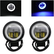 2 Pcs / 1 Pc 3 Inch 40W Waterproof Round LED Angel Eyes Light Bar 12V 24V 6500K white blueFor Motorcycle Offroad led Work Light