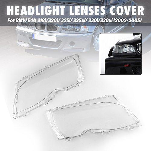 2 Pcs Car Lights Headlight Lens Shell  Lamp Cover Replacement Glass  For BMW E46 318i/320i/ 325i/ 325xi/ 330i/330xi (2002-2005)