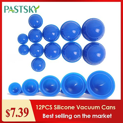 12PCS Silicone medical Vacuum Cans Massage Suction Cup Full Body Vacuum Massager Therapy Suction Cup Set Chinese Cupping
