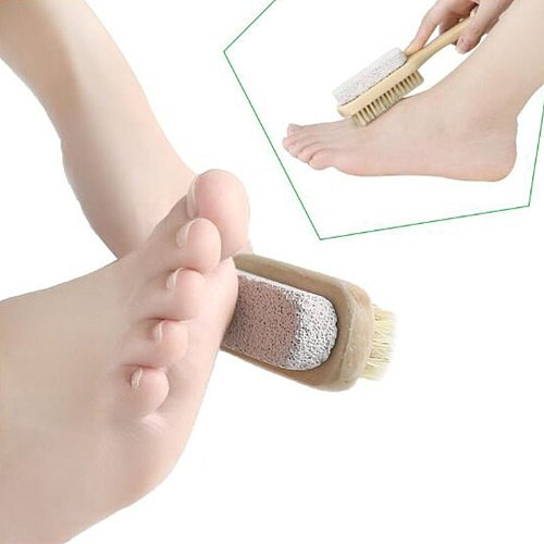 2pcs Double Sided Pumice Brushes Foot Scraping Plate Bristles Foot File Callus Remover Pedicure Care Tool