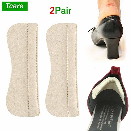 Tcare 2Pair Foot Care Heel Grips Liner Microfiber Leather Cushions Inserts Pad for Loose Shoes Too Big Improved Shoe Fit Comfort