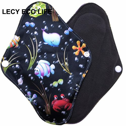 [Lecy Eco Life] hot sell washable panty liner with bamboo charcoal inner, Cloth Menstrual pads open size 16*22cm