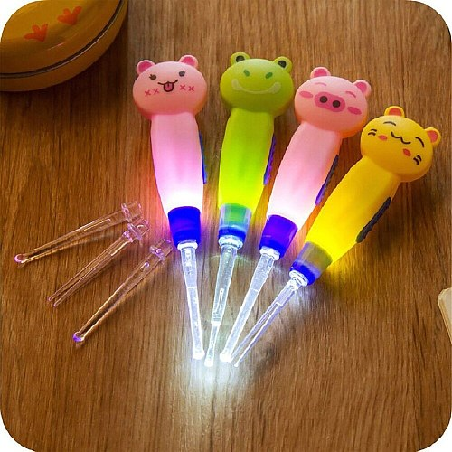 Ear Spoon Cleaning with LED Lighting Cute Cartoon Animal Detachable Earwax Remover Tool Safety Cleaner Spoon for Kids peel ears