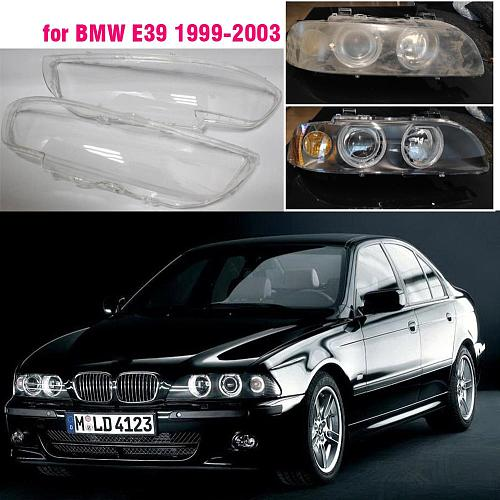 Car Front Headlight Lens Cover For BMW E39 5 1999 2000 2001 2002  glass Auto Shell Headlamp Lampshade transparent