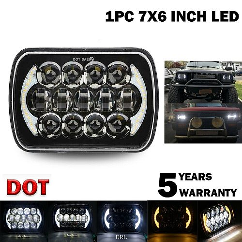 210W 5X7 Inch 7X6 Inch Projector LED Headlight DRL with H4 Harness for Chevrolet Jeep Cherokee XJ Toyota Tacoma & 88-95 Pickup 1