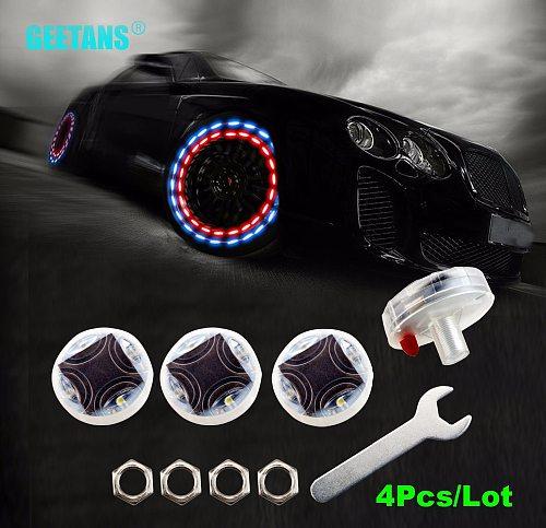 GEETANS Car Waterproof Solar Energy Wheel Light Decorative Flashing Colorful LED Tire Light Gas Nozzle Cap Motion Sensors CJ