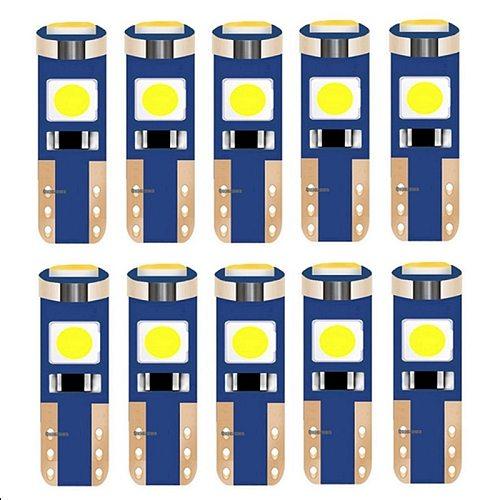 10PCS T5 W3W 74 286 W1.2W Super Bright 3030 LED Wedge Dashboard Gauge Lamps Car Warning Indicator Instrument Cluster Lights Bulb