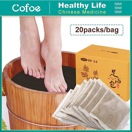 Cofoe 20 pcs Aiye Bag Foot Bath Powder Improve Sleep Beautify Skin Natural Herb Foot SPA Lymphatic Health Chinese Medicine