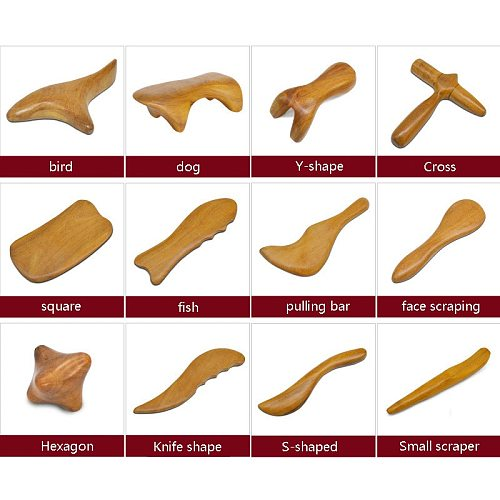 Natural Sandalwood Scraping Massage SPA Therapy Stick Point Treatment Muscle Relaxation Guasha Board