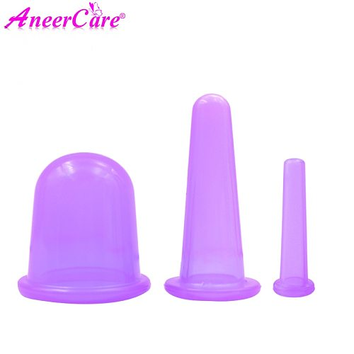 3pcs Vacuum Cupping Silicone Body  Cups Set For Face Neck Back Eyes Massage Anti-cellulite Massager Suction Cup Treatment