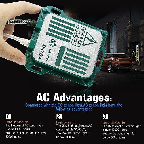 High Bright AC Xenon Kit Ballast + Bulb 55W 10000LM H1 H3 H7 H8 H9 H11 9005 9006 9012 D2H D2S 12V Car Light Headlight Fog Lamp
