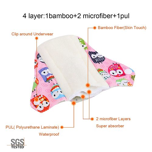 6PCS Ohbabyka Bamboo Cotton Mama Reusable Menstrual Cloth Sanitary Pads Napkin Waterproof Regular Flow Women Feminine Hygiene