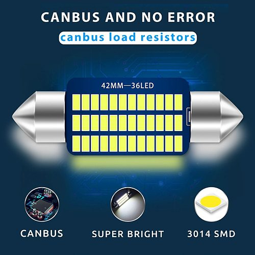 1PC Canbus car C5W led 31 36 39 41mm interior Light 4014 Chips LED Festoon Bulb Car Dome  No Error Auto Interior Reading Lamp