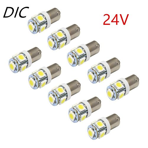 5PCS 24V/12V Ba9s 5050 5-SMD Car LED Bulb 110 Lumen T4W 1445 H6W Side Marker Light Door Interior License Plate Wedge Lamps White