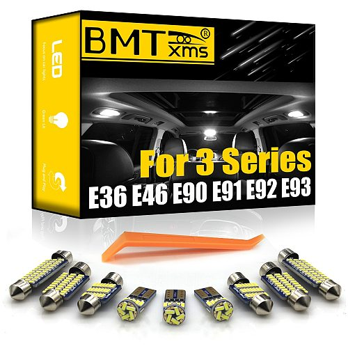 BMTxms For BMW 3 Series E36 E46 E90 E91 E92 E93 1990-2013 Vehicle LED Interior Map Dome Indoor Light Kit Canbus Bulbs
