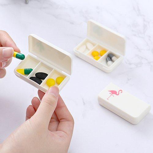 Mini Organizer Case 3 Grids Pill Box Tablet Flamingo Cactus Leaf Pill Case Dispenser Medicine Boxes Dispensing Medical Kit