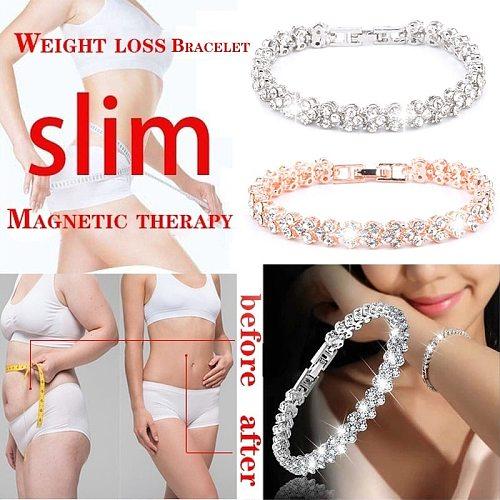 Women Fashion Crystal Bracelet Weight Loss Magnetic Gold Chain Bracelet Female Jewelry Bracelet Gift for Women Female Jewelry
