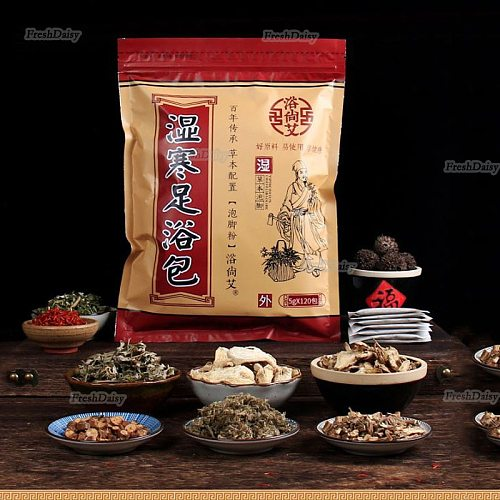 120Pieces 5G/PC Foot Bathing Powder Herbal Feet Massage Powder Clean Moisturize Eliminate Dampness and Cold In Body Healthy Care