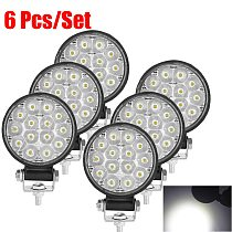 6/4/2Pcs Led Work Light 42W/48W Car Headlight 14 Led Car Light For Truck Offroad 12/24V Night Driving Lights For SUV Fog Lamps