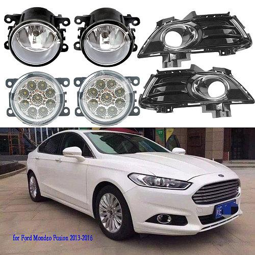 Fog Lights for Ford Mondeo Fusion 2013-2016 Fog Light Grilles Grill Headlight LED Headlights Fog Lamps Covers Frame Cover