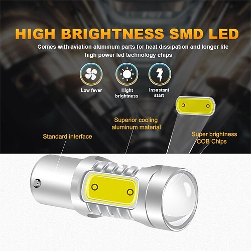 NLpearl 2x Signal Lamp 1156 LED BA15S P21W BAU15S PY21W Auto Turn Signal Light 12V COB 1157 BAY15D P21/5W LED Brake Stop Lamps