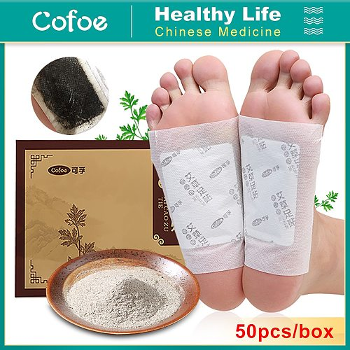 Cofoe 50pcs detox foot patches Improve Sleep With Adhesive for feet pads Dispel Dampness Wormwood/Ginger foot patch Foot Care