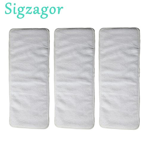 [Sigzagor] 3 Adult Diaper Inserts Incontinence Disable Washable Reusable Cloth Diaper Nappy Liner Big Microfiber,4 Layer 20x49cm