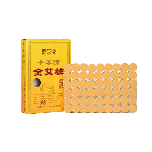 54 Pieces Natural Wormwood Ten Years Moxa Stick 60:1 Gold Moxa Moxibustion Roller Burner Massage Health Care Body Pain Relief