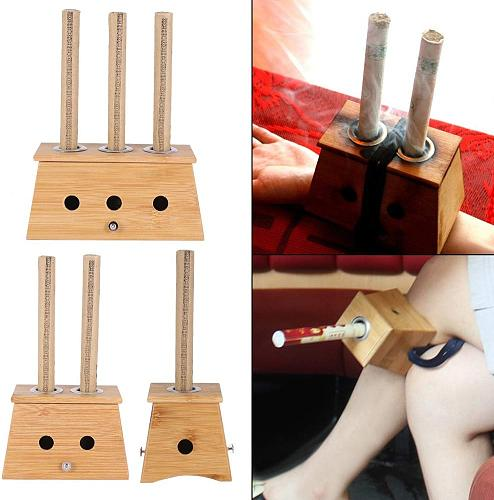 Bamboo Moxibustion Moxa Burner Box Acupuncture Relaxation Roller Stick for Smokeless Moxibustion Roll Stick Acupoint Massage