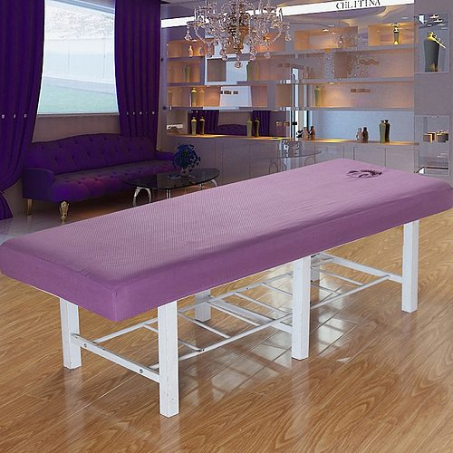 Professional Washable Acupuncture Massage Table Bed Protective Fitted Pad Sheet Cover for Beauty Salon Spa Purple White 70x190cm