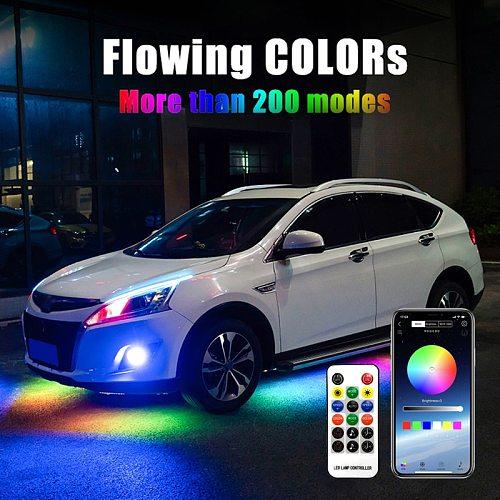 Niscarda Remote Control APP Bluetoot RGB LED Strip Under Car Tube Underglow Underbody System Neon Light DC12V IP65 5050 SMD