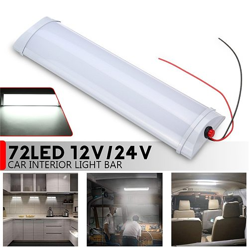 72 LED 10W Car Interior Led Light Bar White Light Tube with Switch for Van Lorry Truck RV for Camper Boat Indoor ceiling light