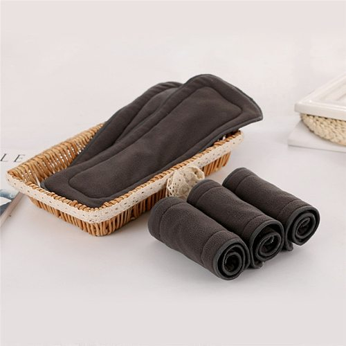 Washable Adult Diaper 5 Layers Bamboo Charcoal Cloth Nappy Liner Super Absorbent Reusable Incontinence Adult Diaper Insert Pad