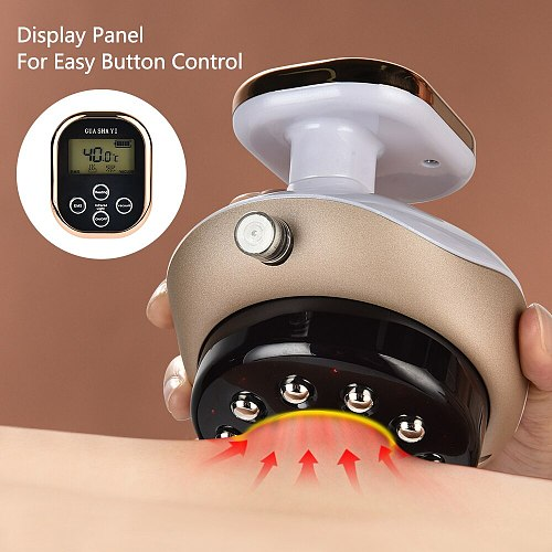 Electric Cupping Massager LCD Display Vacuum Suction Cups EMS Guasha Scraping Meridian IR Therapy Body Slimming Massager Device