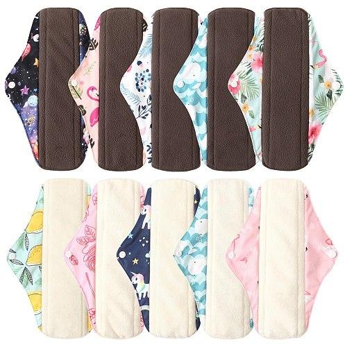 Ohbabyka Reusable Pads bamboo Charcoal Sanitary Pads Mama Menstrual Cotton Pads Washable Panty Liner Pads Health Feminine6+1set
