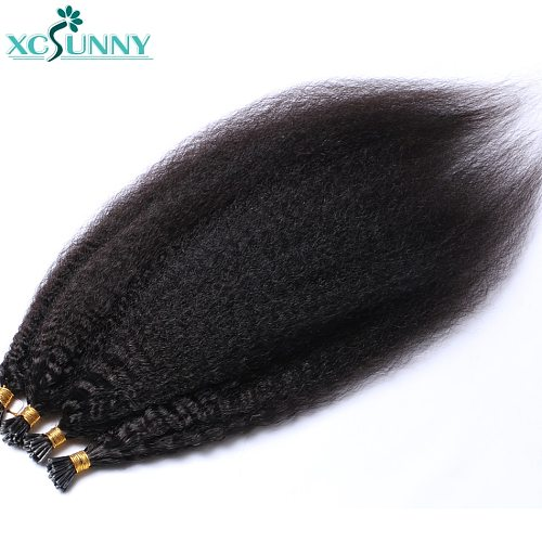 Itip Human Hair Extensions Kinky Straight Remy Brazilian Stick I Tip Hair Extensions For Black Women 0.95g/strand 16-24  xcsunny