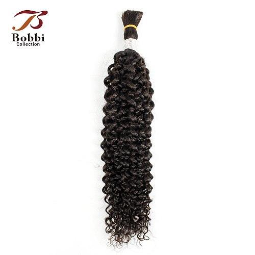 Bobbi Collection Jerry Curly Hair Bulk Human Hair for Braiding Natural Color Indian Remy Human Braiding Hair Bulk Extensions