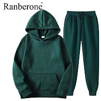 Ranberone 2 Piece Sport Suit Fitness Solid Color Tracksuit Wives Hooded Pullover Sweatshirt Casual Pants Sets Sportswear Male