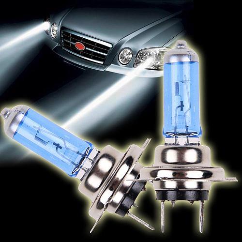 NEW 2pcs H7 6000K Gas Halogen Headlight Blue Housing Provides White Light Lamp Bulbs 55W 12V Automotive Headlights Ultra quartz
