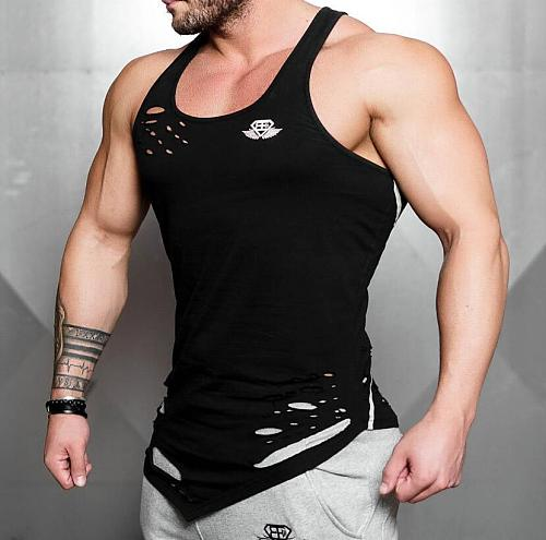 Sports and Fitness Men's Leisure Outdoor Ripped Cotton Round Neck Vest Summer New Men's Running Training Clothes Thin T-shirt