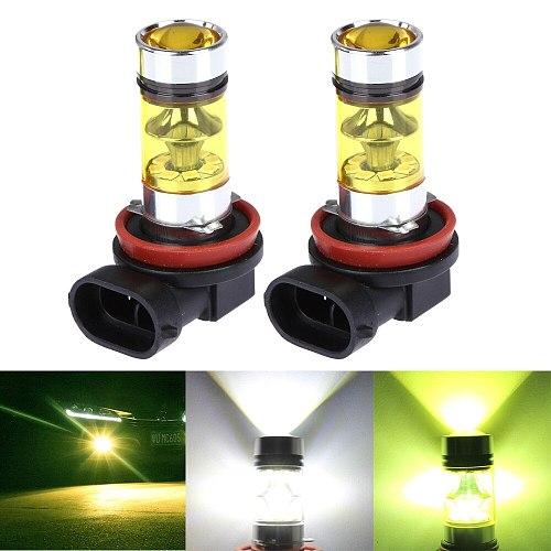2PCS H4 LED H7 H8 H11 9005 9006 H16 P13W Car Fog LED Light Canbus DRL Driving Running Fog Lamp 20LED 2835 100W 12V Green Yellow