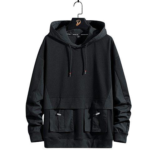 Pu Sweatshirt Hip Men Waterproof Jacket with Hooded Pocket Male  Pullover Outerwear Skateboarding Sports Hoodies